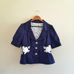 Anthropologie Elevenses Mini Blazer Jacket Floral